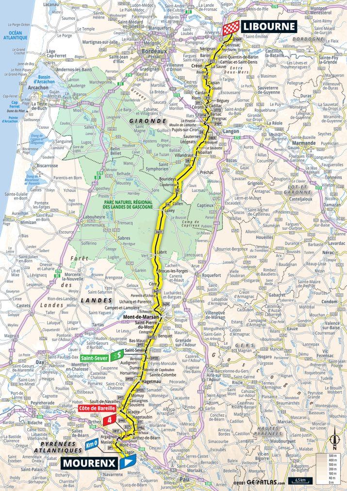19e étape - Carte - Tour de France 2021