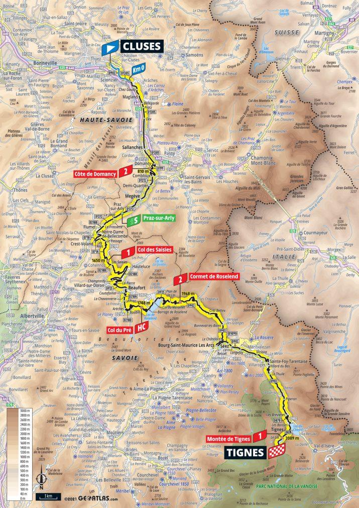 9e étape - Carte - Tour de France 2021