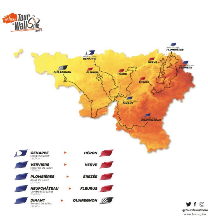 Carte générale - Tour de Wallonie 2021