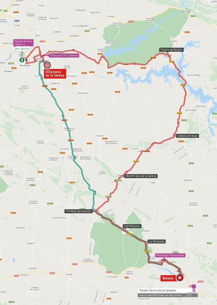 13e étape - Carte - Tour d'Espagne Vuelta 2021