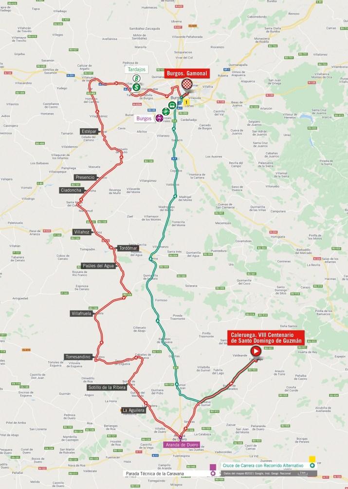 2e étape - Carte - Tour d'Espagne Vuelta 2021