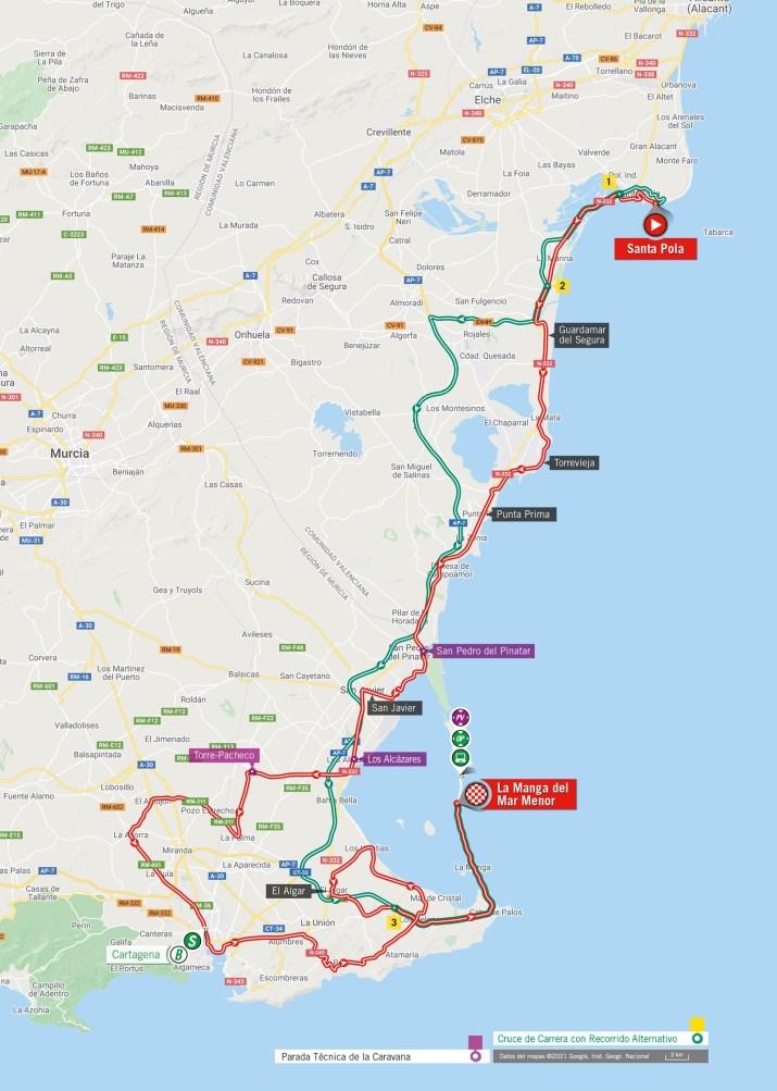 8e étape - Carte - Tour d'Espagne Vuelta 2021