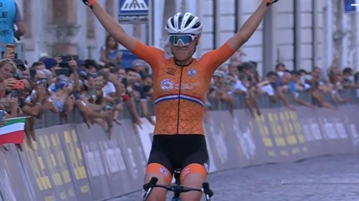 Ellen van Dijk - Championne d'Europe sur route 2021 - Capture Eurosport