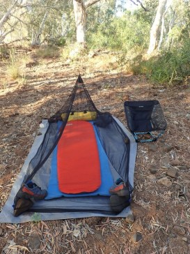 Funny to simply sleep on the ground albeit protected from mozzies. Very nice to do so