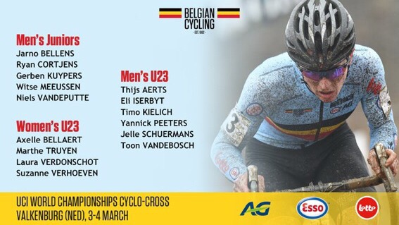Belgian Cycling Team for CX Worlds Limburg 2018