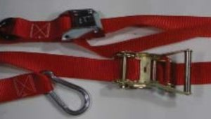 "1.5 inch Rat-Cam Tiedown with ""S"" Hook, Carabiner and Soft Loop"