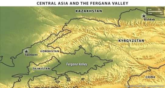Map of the Fergana Valley