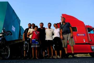 Hitchhiking trucks in the steppe of Kazakhstan