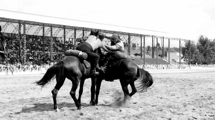 Er Enish o Oodarysh -  wrestling a cavallo