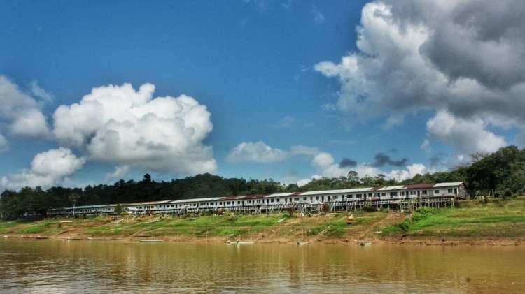 a Dayak longhouse along Rajang river