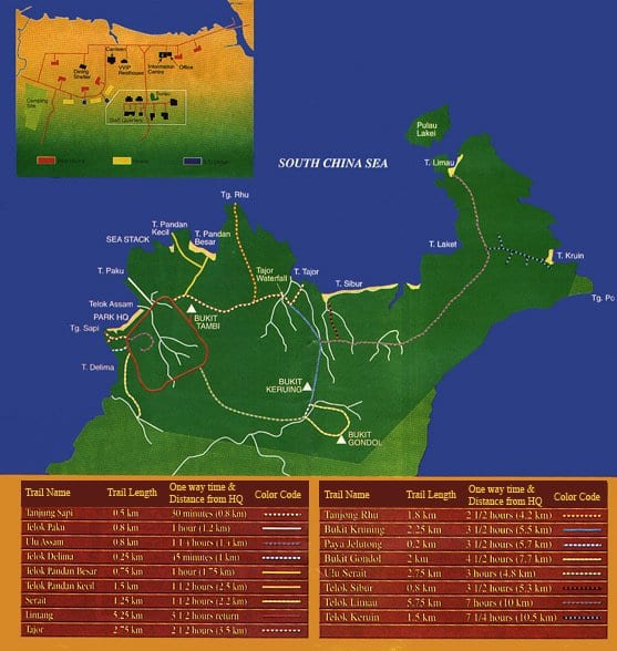 Bako National Park trail Map