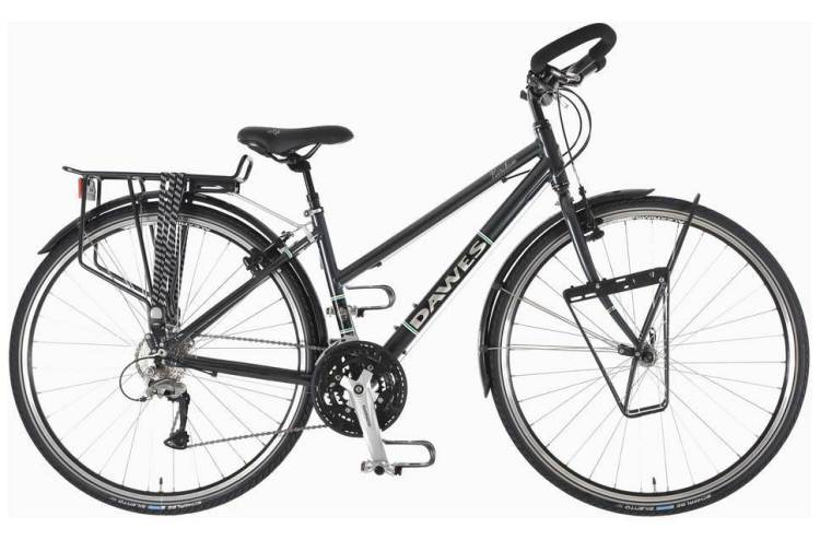 budget woman touring bicycle
