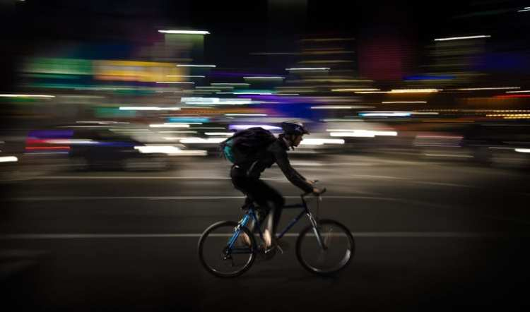 riding bike at night