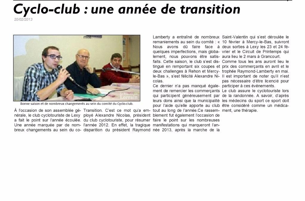 Article de presse : Assemblée Générale 2012