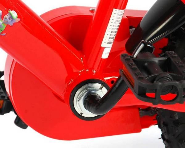 Paw Patrol cykel, rød og blå med støttehjul, fod og håndbremse krank