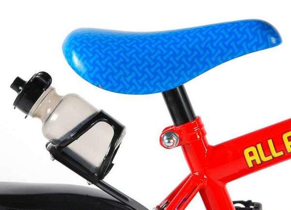 Paw Patrol cykel, rød og blå med støttehjul, fod og håndbremse sadel og flaskeholder