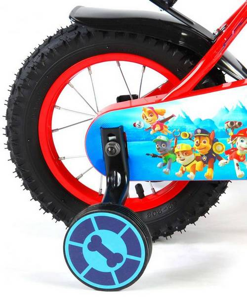 Paw Patrol cykel, rød og blå med støttehjul, fod og håndbremse støttehjul