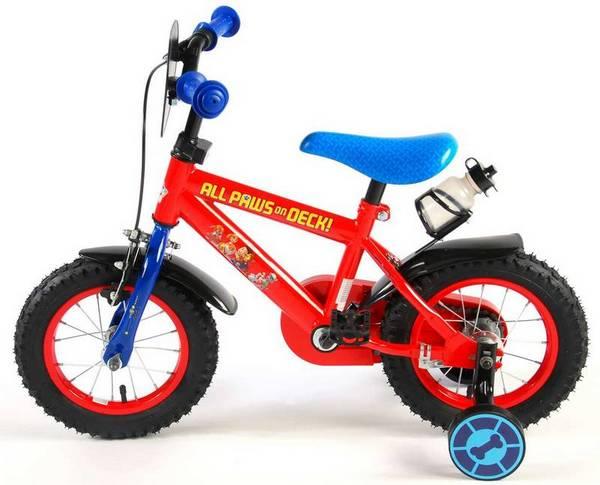Paw Patrol cykel, rød og blå med støttehjul, fod og håndbremse fra venstre