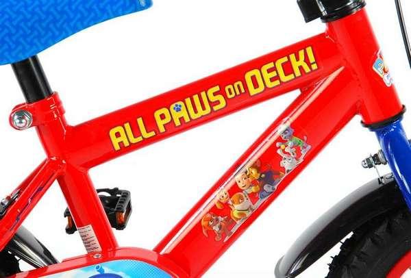 Paw Patrol cykel, rød og blå med støttehjul, fod og håndbremse stel