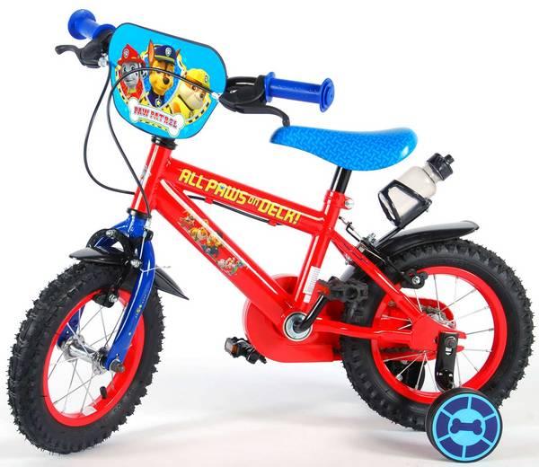 Paw Patrol cykel, rød og blå med støttehjul og håndbremser