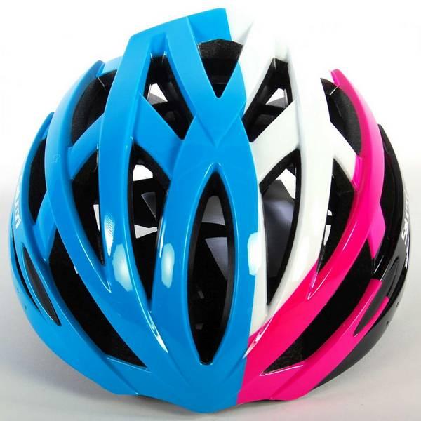 Salutoni dame cykelhjelm i smart sort, pink, hvid og blå farvekombination - set oppefra