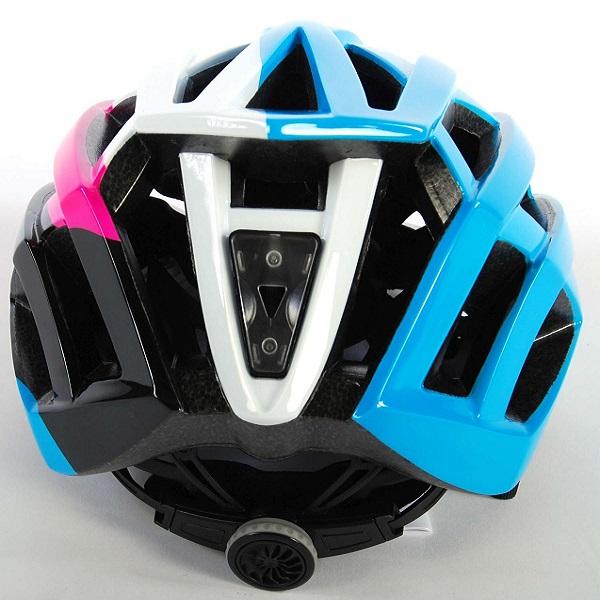 Salutoni dame cykelhjelm i smart sort, pink, hvid og blå farvekombination - Ser bagfra
