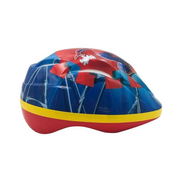 Spiderman cykelhjelm i rød, blå og gul og med en flot Spiderman dekoration. Set fra højre