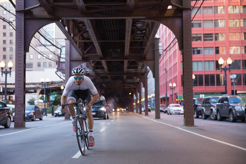Cyclist sprinting