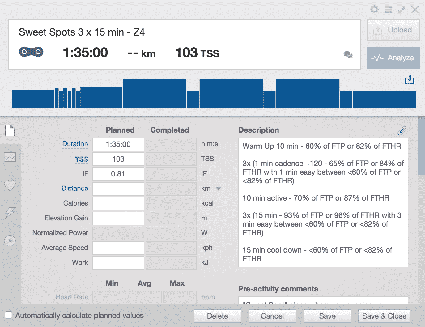 Cycling training plan - Sweet Spots