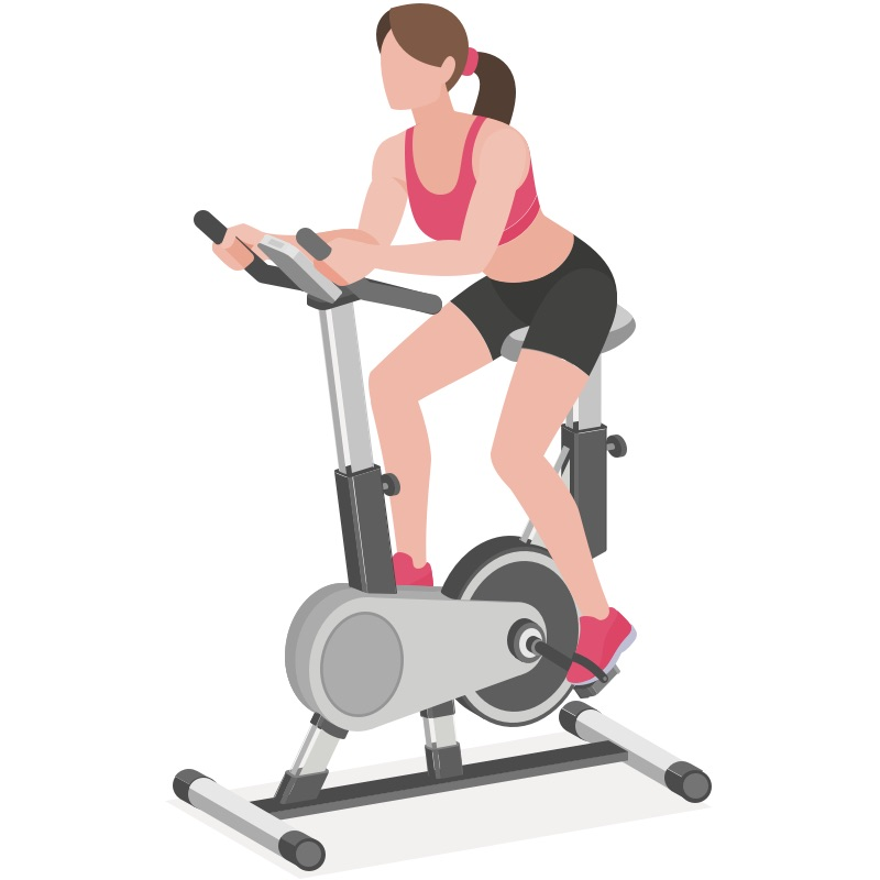 Woman riding stationary bike
