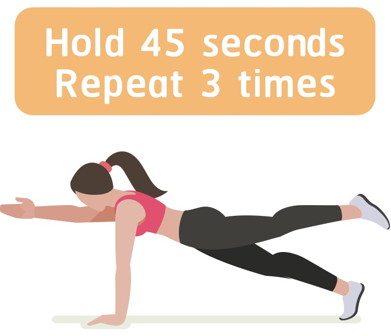 Plank exercise with hand up
