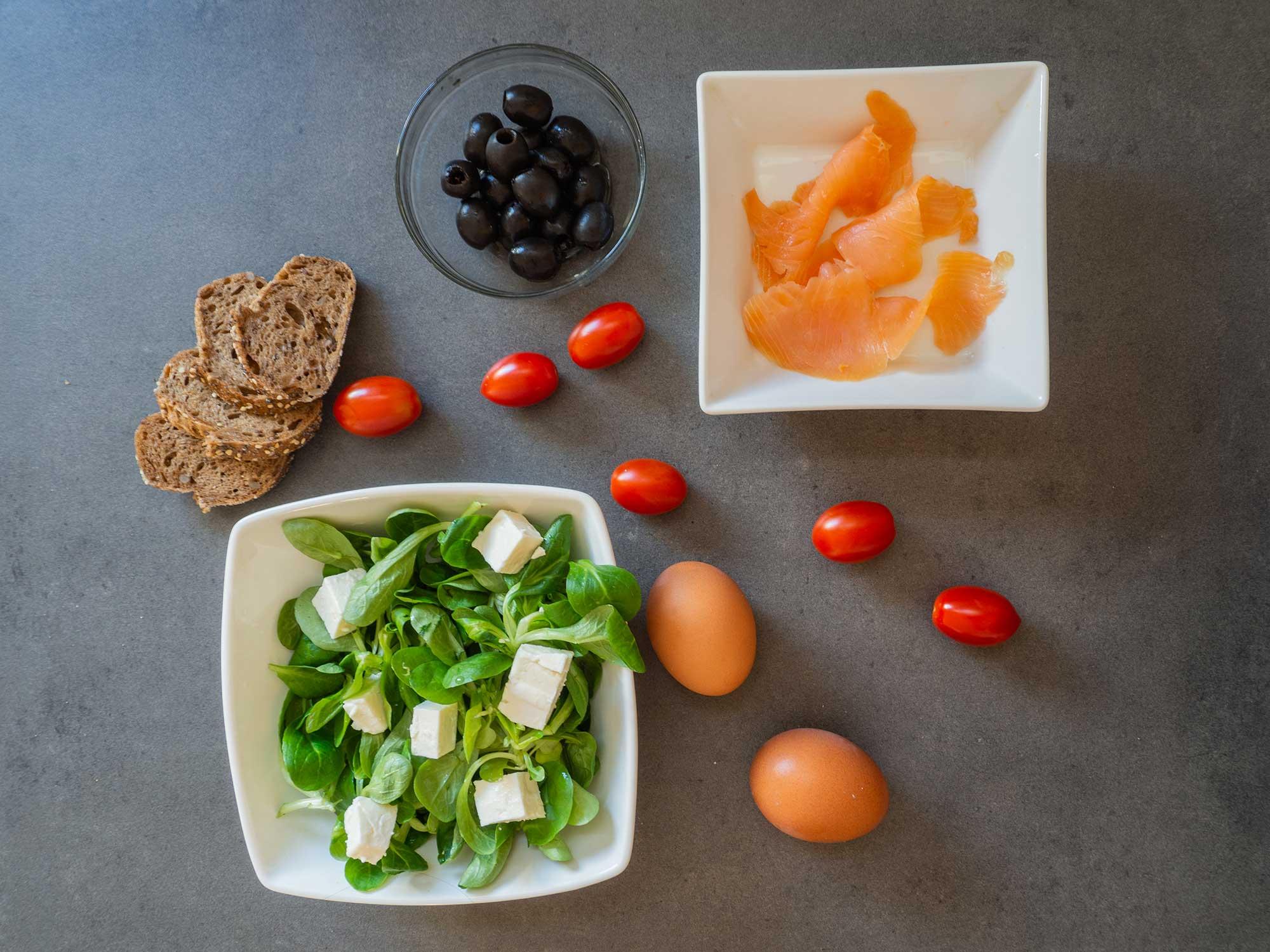 salmon, bread, eggs, tomatoes, feta