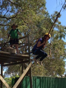 Alejandra taking a leap of faith on the giant swing