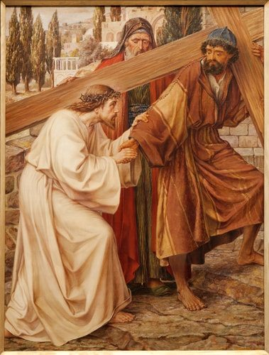 The-Fifth-Station-of-the-Cross-Simon-of-Cyrene-carries-Jesus-cross