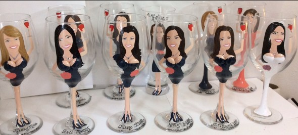 Hand Painted Glassware Bride and Bridesmaids