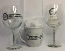Logo wine glasses and logo coffee mugs