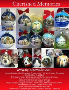 """3"""" $59.95. 3.5"""" $69.95  4"""" $79.95. For your Home or Pet Design. Includes personal message on the back. Presented in a holiday storage box, with hanger, bow and gift tag. House ornaments choice or summer or winter scene."""
