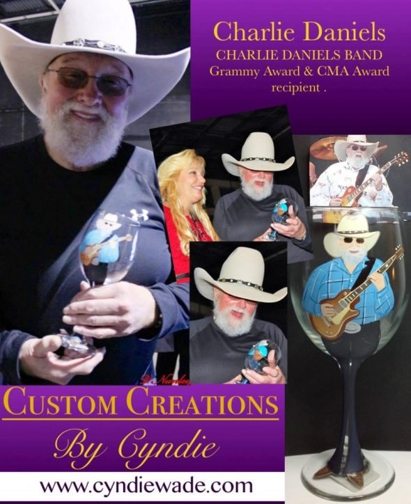 Hand Painted Glassware Charlie Daniels