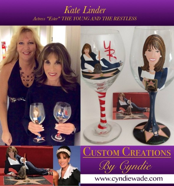 Hand Painted Glassware Kate Linder Young and the Restless