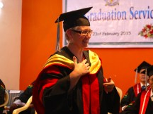 Receiving an honorary doctorate