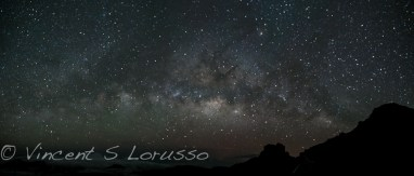 Three picture panoramic shot of the Milky Way over Haleakala.