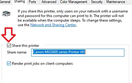 share-printer on