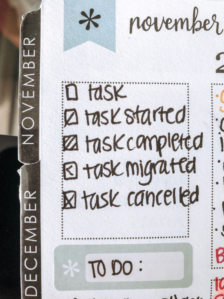 task completion legend. Bujo inspired way to check off tasks in a non-traditional way. Bullet Journal