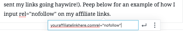 """screenshot of adding rel=""""nofollow"""" to a link. important to know with affiliate marketing."""