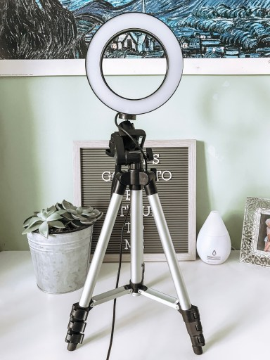 selfie ring tripod, plant, letter board. 5 Helpful Things I Bought to Kickstart My Blog