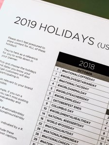 holidays and marketing dates