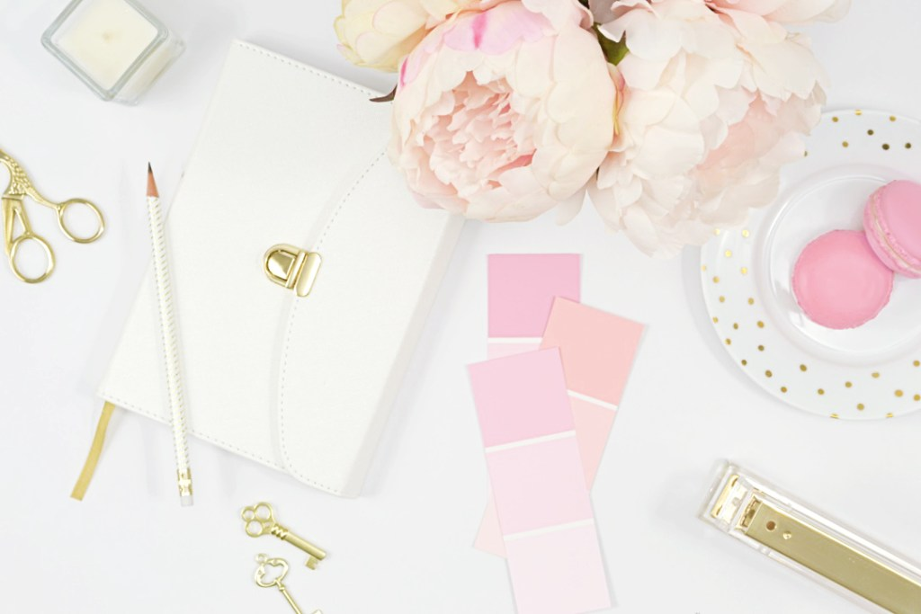 pink flatlay, macarons, peonies, paint samples. Two Years of Blogging: Knowledge, Mistakes, Laughter, Tears and Growth