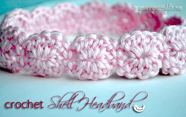 crochet shell headband