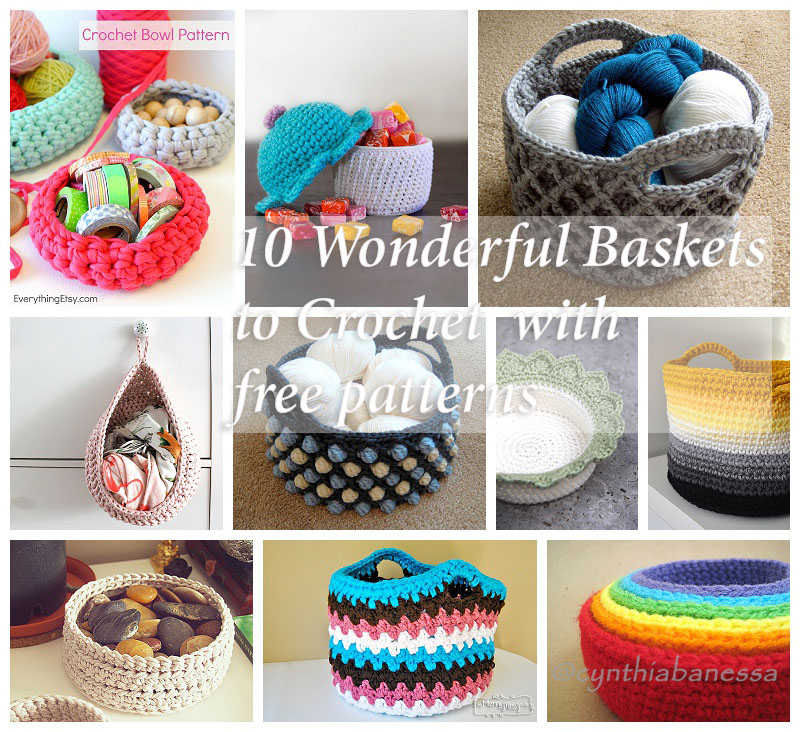 Ten wonderful baskets to crochet with free pattern