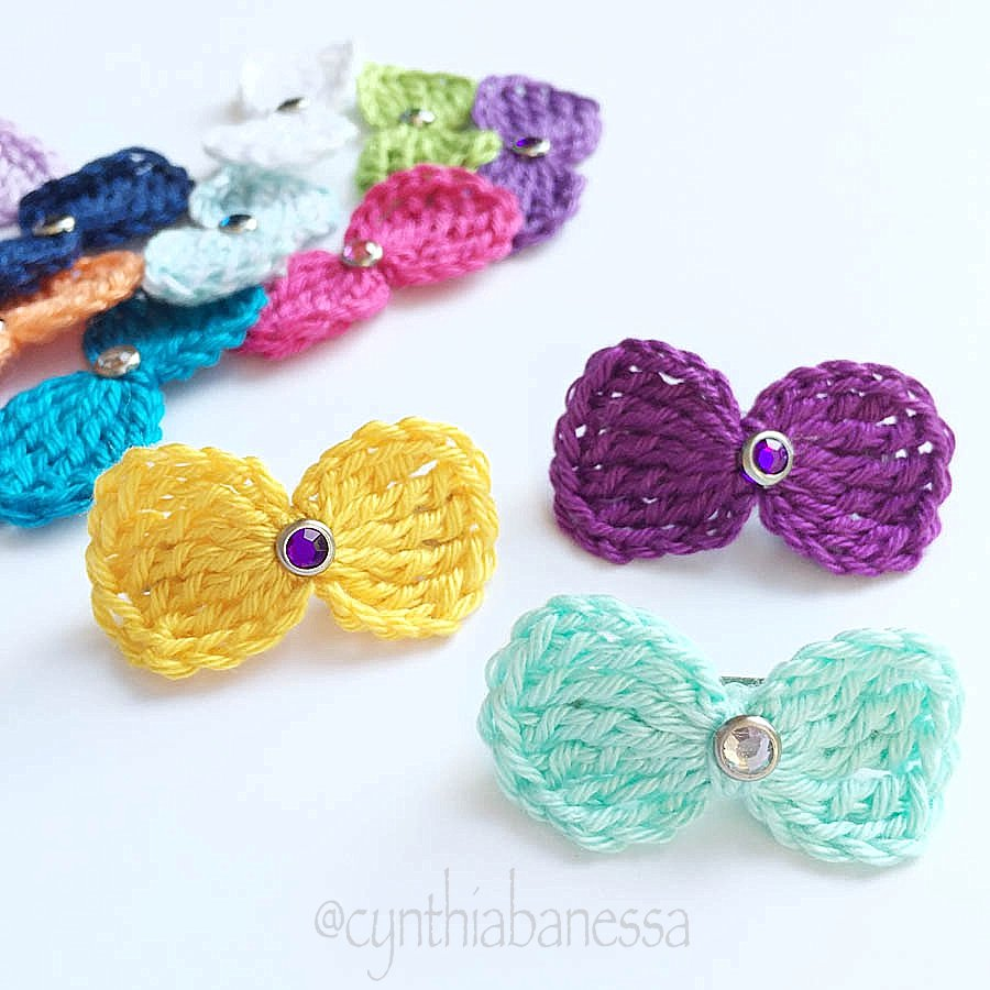 simple crochet hair bow pattern